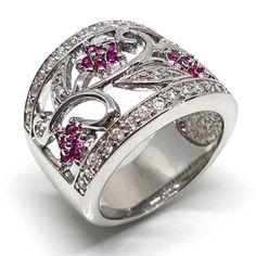 An open filigree flower and leaf design ring for us bigger girls with large fingers. Wide 925 sterling silver band with pink and white cubic zirconia's Party Rings, Diamond Simulant, Wide Band Rings, Prong Set, Leaf Design, Semi Precious Gemstones, Jewelry Branding, Ring Designs, Rings For Men