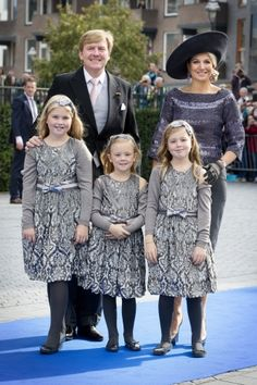 King Willem-Alexander, Queen Maxima and Princesses Amalia, Alexia and Ariane attend the religious wedding of Prince Jaime and Viktória Cservenyák, Apeldoorn, October 5, 2013