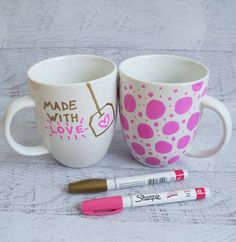 valentine sharpie mugs. click for tips and tricks on how to sharpie a mug