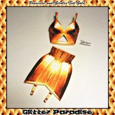 Brooches: Brassiere & Girdles Set Gold