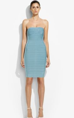 Herve Leger Adriana Corset Strapless Blue Bandage Dress CheapOutlet