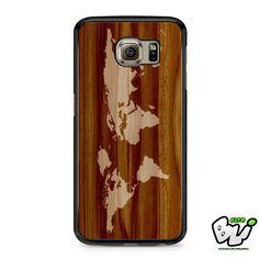 World Map Siluet In Wood Samsung Galaxy S6 Case