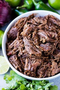 This easy recipe for Mexican Beef Barbacoa is full of authentic flavor and can be easily made in the oven, slow cooker, or an Instant Pot! Meat Recipes, Mexican Food Recipes, Cooking Recipes, Healthy Recipes, Cooking Okra, Shredded Beef Recipes, Chuck Roast Recipes, Shredded Beef Tacos, Mexican Shredded Beef