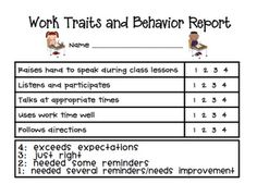 weekly behavior ranking scale -students can assess themselves, then show teachers and parents. good to remind of behavior expectations and work to improve