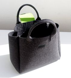 Charcoal Felt Shopper Gray and Green Bag Felt от WeltinFelt