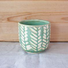 Mint Green Leaf Mug by Barombi Studios by BarombiStudios on Etsy