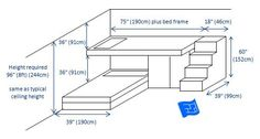 Built in bunk bed design for 2 bunks with dimensions.  Design includes built in stairs.  There's room for a wardrobe under the bed.  Click through to the website for more on bedroom design.