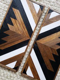 Miles - Set of 2 Reclaimed Wood Art - Geometric Wood Art - Wood Wall Art - Boho Decor - Mantel Art - Gallery Wall Decor - Living Room Art Reclaimed Wood Wall Art, Wooden Wall Art, Diy Wall Art, Wall Decor, Wall Wood, Reclaimed Furniture, Refinished Furniture, Industrial Furniture, Eclectic Furniture