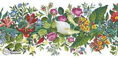 "Купить Схема вышивки ""Цветочная панель"" - схема для вышивки, схема для вышивки крестом, схема вышивки Embroidery Patterns Free, Cross Stitch Embroidery, Pattern Making, Needlepoint, Needlework, Projects To Try, Antiques, Drawings, Floral"
