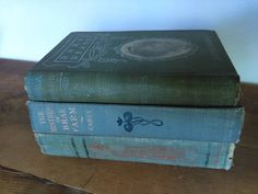 Feminine Antique Book Set Blue Green Cloth Bound by jessamyjay on Etsy