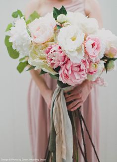 Beautiful bouquet made by Green Wedding Shoes with silk flowers from afloral.com. #silkflowers