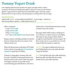 Yummy Yogurt Drink 4 c cocnut milk 4 cups cashew milk 2 T coconut sugar Dairy Free Yogurt, Dairy Free Ice Cream, Dairy Free Milk, Cocnut Milk, Cashew Milk, Yummy Yogurt, Vegan Yogurt, Coconut Yogurt, Vegan Sugar