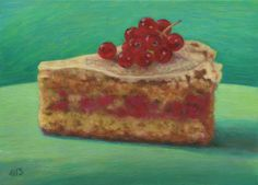 Marion Stephan - Ein Stück Johannisbeerkuchen 1, #marionstephanfineart, #cakepainting, #cake