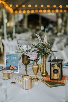 eclectic centerpieces - photo by Hazelwood Photo http://ruffledblog.com/bohemian-portland-forest-wedding