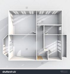 3d interior rendering plan view of empty roofless home apartment with two balconies: room, bathroom, bedroom, kitchen, living-room, hall, entrance, door, window