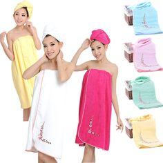 High Quality 100% Cotton Bath Wrap Girl/Lady Spa Towels for School/Pool/Home Set #MMY