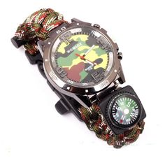 oulm men s survival watch compass and thermometer analog camo multicam watch survival flint fire starter paracord compass rescue whistle