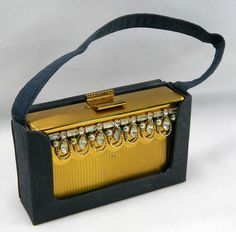 Vtg Elgin American Brass Makeup Compact Carry All Box Case Purse Clutch Art Deco