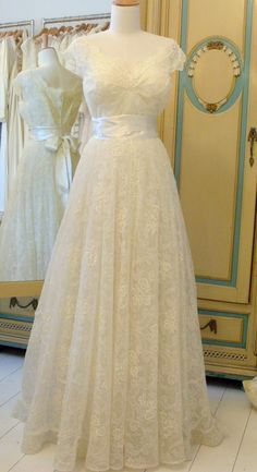 "1950's Chantilly Lace - I know this is more classy than ""over the top"", but I think it would make a charming wedding dress!"