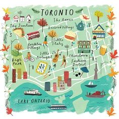 I'm obsessed with Toronto this week! London-based illustrator created this of my favorite city in Canada… Vancouver, Road Trip Usa, British Columbia, Illustrator, Country Maps, Travel Illustration, Flat Illustration, Map Design, City Maps