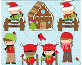 Instant Download Christmas Kids Outdoors Digital Clip Art Web Design, Card Making, Scrapbooking, Kawaii - Personal and Commerical Use