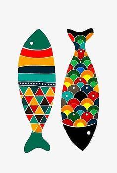 Colorful Fish Art Print Pop Art Wedding gift Kids by dekanimal 15 00 Fish Artwork, Fish Wall Art, Artwork Prints, Pop Art, Fish Drawings, Colorful Fish, Tropical Fish, Fish Print, Art Mural
