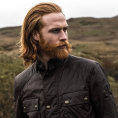 Keeping myself protected against the elements in the timeless waxed cotton Roadmaster jacket from Perfect for English summer Shot by Ginger Men, Ginger Beard, Ginger Hair, Beard Styles For Men, Hair And Beard Styles, Long Hair Styles, Redhead Characters, Redhead Men, Red To Blonde