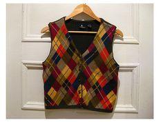 90s argyle vest  colorful vintage crop vest  khaki by EcoCentrik #etsy#vintagevest#preppyvest #ecoclothing www.etsy.com/shop/ecocentrik