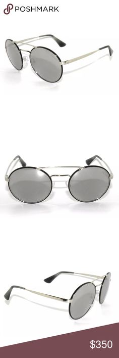 Prada 51S Silver Black Mirror Sunglasses Brand new, comes with original packaging. Size: 54/22/135 Prada Accessories Sunglasses