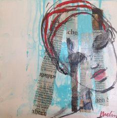 L attente, huile sur bois et collage Collage, Painted Canvas, Oil, Woodwind Instrument, Collages, Collage Art, Colleges