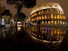 A different view of the Colosseum in Rome. Weathered by nature, but still majestic.