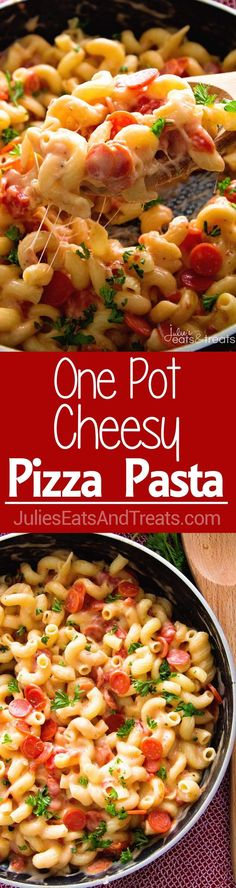 One Pot Pizza Pasta ~ Amazing One Pot Dinner Recipe That the Whole Family Will Love! Only Takes 30 Minutes and a Fun Twist on Pizza Night! ~ http://www.julieseatsandtreats.com