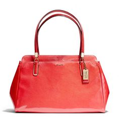 """Madison Kimberly Carryall In Patent Leather -  $428 25191 LI/VER  Patent leather Inside zip, cell phone and multifunction pockets Zip-top closure, fabric lining Outside pocket Handles with 8 1/2"""" drop 15 3/4"""" (L) x 9 1/2"""" (H) x 6"""" (W)"""