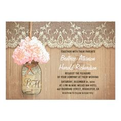 Cute rustic wedding invitation featuring mason jar with pink hydrangea blossom. Perfect invite for country wedding with vintage lace and distressed wood accents.
