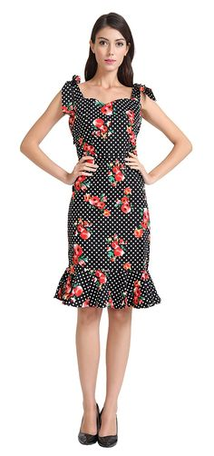 1950s Pinup Vintage Rockabilly Polka Dot Mermaid Wiggle Fitted Party Dress ** Visit the image link more details. (This is an affiliate link and I receive a commission for the sales)