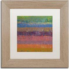 Trademark Fine Art Pink Line Canvas Art by Michelle Calkins, White Matte, Birch Frame, Size: 11 x 11, Orange