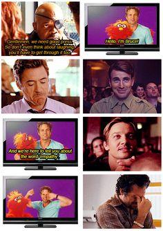 "I love how Tony is like ""Wowwww, okay...."", Steve's like ""aww that's cute"" and then Hawkeye is enamored with it. XD"