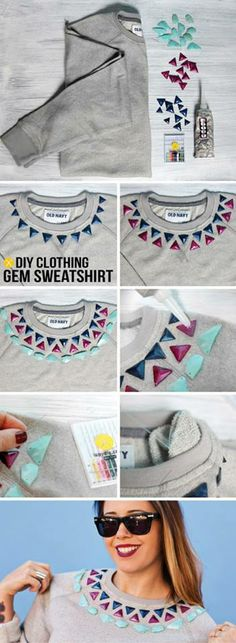 Upcycled sweatshirt or t-shirt.  Looks marvelous!