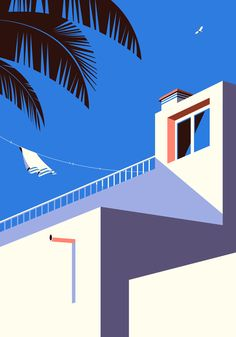 Malika Favre designed a beautiful series of geometric prints depicting the local architecture and landscape in Fuerteventura: Minimal Illustration