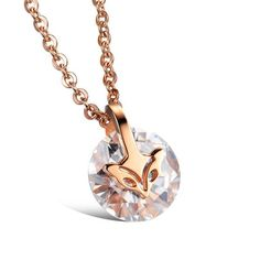 Rose Gold Plated Fox Zircon Stud Earrings/ Pendant Necklace - lilyby