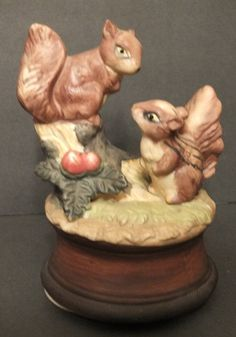 Squirrel Chipmunk Figurine Music Box by MoonbearConnections