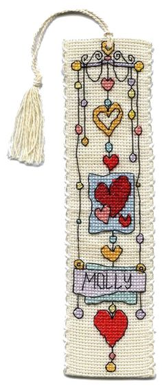 String of Hearts Bookmark Cross Stitch Kit | sewandso