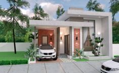 House Plans with 2 Bedrooms Terrace roof The House has:-Car Parking and garden-Living room,-Dining Bedrooms, 1 bathroom Small Modern Home, Modern Tiny House, Modern House Design, Best Small House Designs, Small Cottage Designs, Single Storey House Plans, One Storey House, Small Bungalow, Bungalow House Design