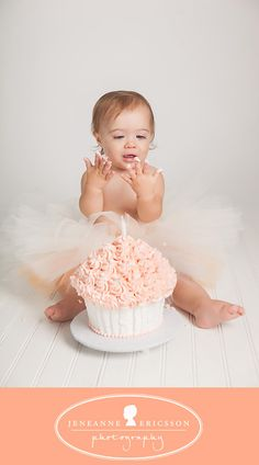 If I have a little girl, this will be happening. tutu and big cupcake cake, with peachy pink icing! #peachesandcream #redheads