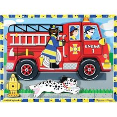 A possibility for a first puzzle - Melissa and Doug fire engine chunky wooden puzzle