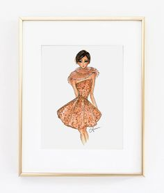 Fashion Illustration Print Elie Saab Couture 8x10 by anumt on Etsy
