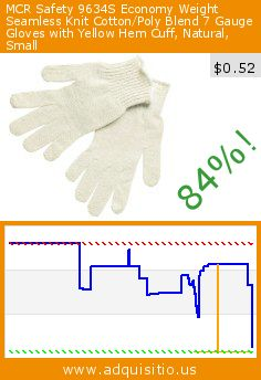MCR Safety 9634S Economy Weight Seamless Knit Cotton/Poly Blend 7 Gauge Gloves with Yellow Hem Cuff, Natural, Small (Tools & Home Improvement). Drop 84%! Current price $0.52, the previous price was $3.32. http://www.adquisitio.us/mcr-safety/9634s-economy-weight