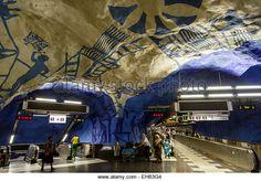 People at a T Bana metro station, Stockholm, Sweden, Scandinavia, Europe - Stock Image