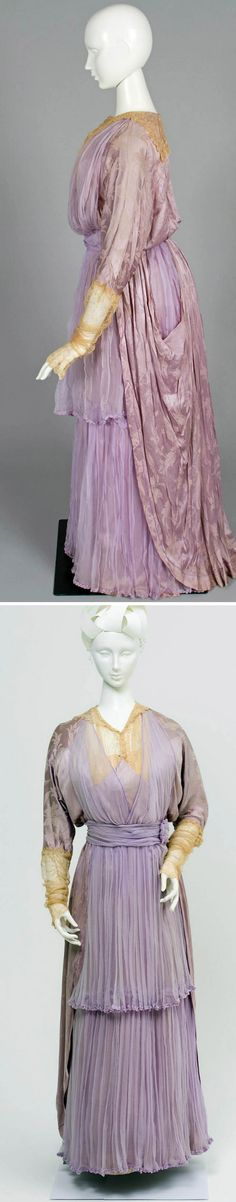 Day dress ca. 1913. Lilac-colored silk satin with a boned back fastening and high waist. Long sleeves with internal sweat pads under arms and embroidered cream net from elbow to wrist. Cream embroidered net square collar with round neck, lilac chiffon overlays at back, and waist and side pocket at front. Powerhouse Museum