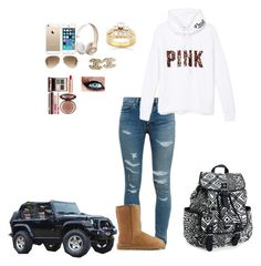 """""""Driving to school on a Fall day"""" by lexyb34 on Polyvore featuring Yves Saint Laurent, Victoria's Secret PINK, UGG Australia, Aéropostale, FingerPrint Jewellry, Ray-Ban, Kobelli, Chanel and Charlotte Tilbury"""
